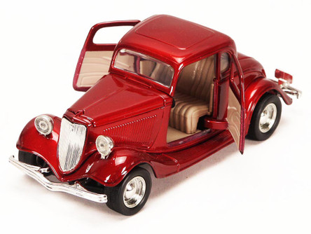 1934 Ford Coupe, Red - Motormax 73217 - 1/24 scale Diecast Model Toy Car