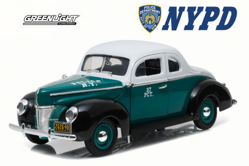 1940 Ford Deluxe Coupe NYPD, White - Greenlight 12972 - 1/18 Scale Diecast Model Toy Car