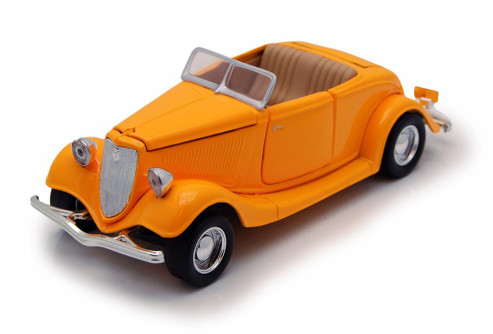1934 Ford Coupe Convertible, Yellow - Motormax Premium American 73218 - 1/24 Scale Diecast Model Car