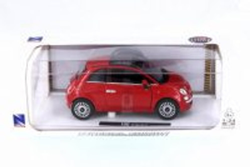 Fiat 500, Red - New Ray 71016A-RD - 1/24 Scale Diecast Model Toy Car