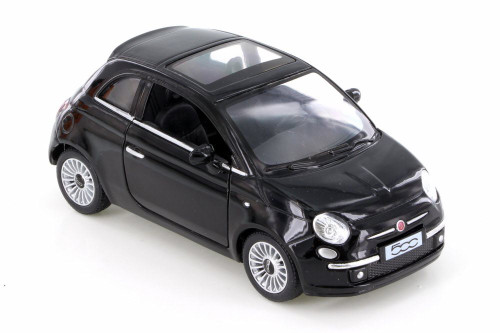 Fiat 500, Black - Kinsmart 5345D - 1/28 Scale Diecast Model Toy Car