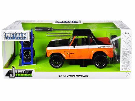 1973 Ford Bronco, Orange with Matte Black/White - Jada 31058-MJ - 1/24 Scale Diecast Model Toy Car