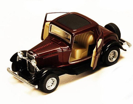1932 Ford 3-Window Coupe, Burgundy - Kinsmart 5332D - 1/34 scale Diecast Model Toy Car (Brand New, but NOT IN BOX)