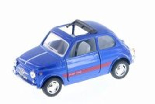 Fiat 500 w/ Sunrroof, Dark Blue - Kinsmart 5004D - 1/24 Scale Diecast Model Toy Car