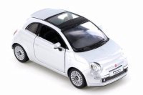Fiat 500, Silver - Kinsmart 5345D - 1/28 Scale Diecast Model Toy Car