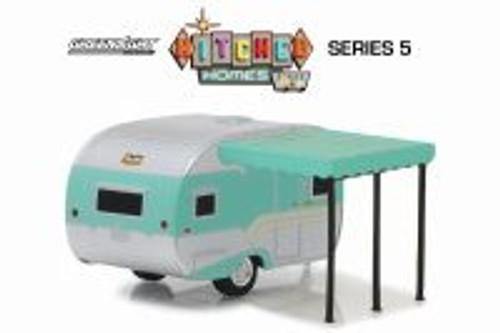 1959 Catolac Deville Travel Trailer, Aqua - Greenlight 34050B/48 - 1/64 Scale Diecast Model Toy Car