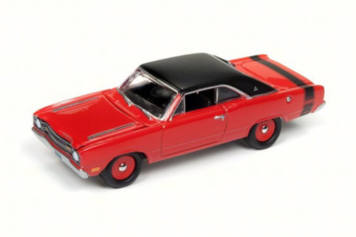 1969 Dodge Dart Swinger, Bright Red/Black - Round 2 JLMC011/24B - 1/64 Scale Diecast Model Toy Car
