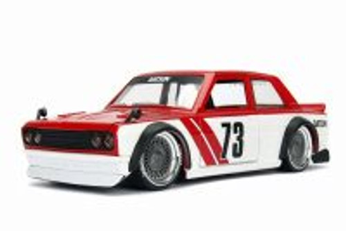 1973 Datsun 510 Widebody #73, Red w/ White - Jada 98556DP1 - 1/24 Scale Diecast Model Toy Car