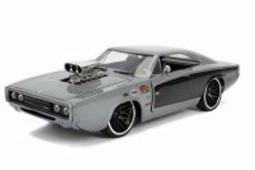 1970 Dodge Charger R/T with Blower Hardtop, Glossy Gray - Jada 31668 - 1/24 scale Diecast Model Toy Car