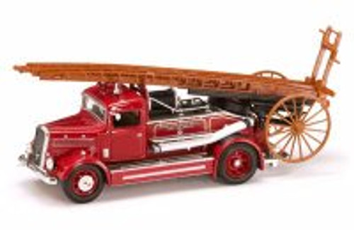 1938 Dennis Light Four Fire Engine, Red - Yatming 43011 - 1/43 Scale Diecast Model Toy Car