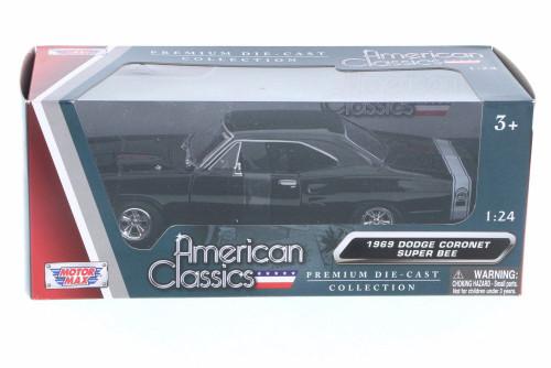 1969 Dodge Coronet Super Bee, Black - Motor Max 73315AC-BK - 1/24 Scale Diecast Model Toy Car