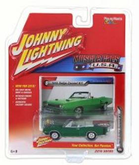1969 Dodge Coronet Convertible, Metallic Green - Johnny Lightning JLMC001A - 1/64 Scale Diecast Model Toy Car
