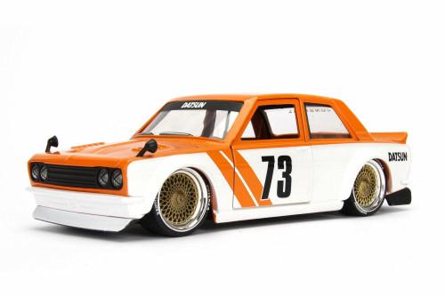 1973 Datsun 510 Widebody #73, Orange w/ White - Jada 98556DP1 - 1/24 Scale Diecast Model Toy Car