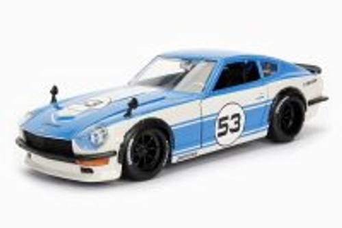1972 Datsun 240Z Hard Top, Blue w/ White - Jada 99102DP1 - 1/24 Scale Diecast Model Toy Car