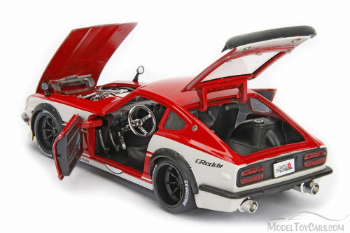 1972 Datsun 240Z Hard Top, Red w/ White - Jada 99102DP1 - 1/24 Scale Diecast Model Toy Car