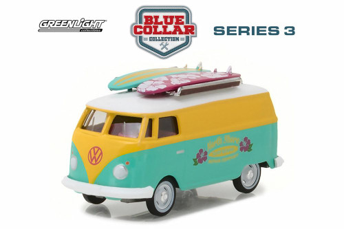 1968 Volkswagen Type 2 Panel Van North Shore Surfboard Repair Company, Teal Green w/ Yellow - Greenlight 35080C/48 - 1/64 Scale Diecast Model Toy Car