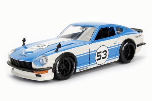 1972  Datsun 240Z Hard Top, Blue w/ White - Jada 99098 - 1/24 Scale Diecast Model Toy Car