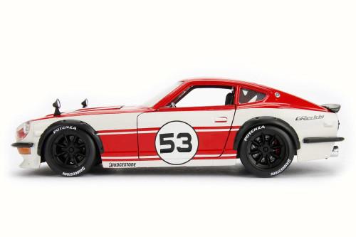 1972  Datsun 240Z Hard Top, Red w/ White - Jada 99098 - 1/24 Scale Diecast Model Toy Car