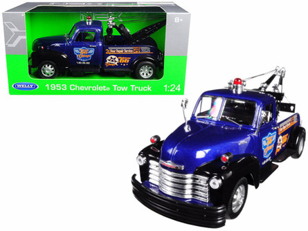1953 Chevy Tow Truck, Blue and Black - Welly 22086W-BLBK - 1/24 scale Diecast Model Toy Car