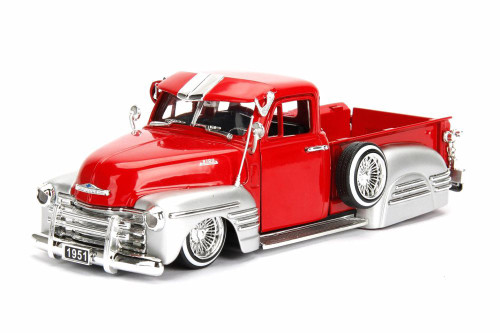 1951 Chevy Pick-Up, Red w/ Silver - JADA 97229WA1 - 1/24 Scale Diecast Model Toy Car