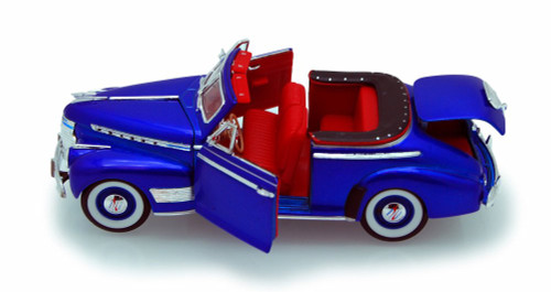 1941 Chevy Special Deluxe Convertible, Blue - Welly 22411 - 1/24 scale Diecast Model Toy Car (Brand New, but NOT IN BOX)