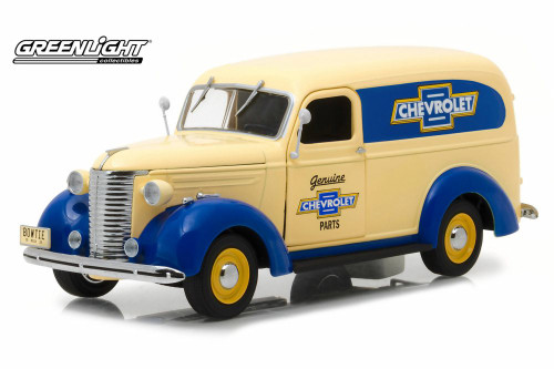 1939 Chevy Panel Truck, Cream with Blue - Greenlight 18242 - 1/24 scale Diecast Model Toy Car