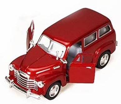 1950 Chevy Suburban, Red - Kinsmart 5006D - 1/36 scale Diecast Model Toy Car (Brand New, but NOT IN BOX)