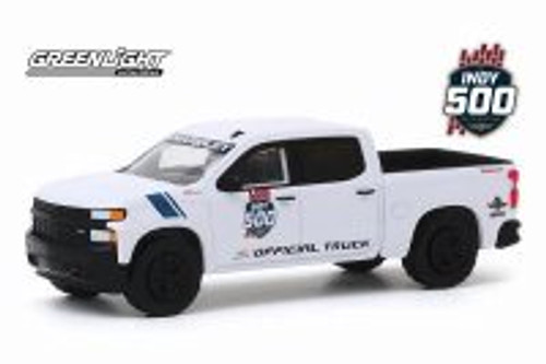 2019 Chevy Silverado 1500 103rd Running of the Indianapolis 500 Official Truck, White - Greenlight 30163/48 - 1/64 scale Diecast Model Toy Car
