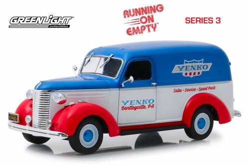 1939 Chevy Panel Truck, White with Blue and Red - Greenlight 85041 - 1/24 scale Diecast Model Toy Car