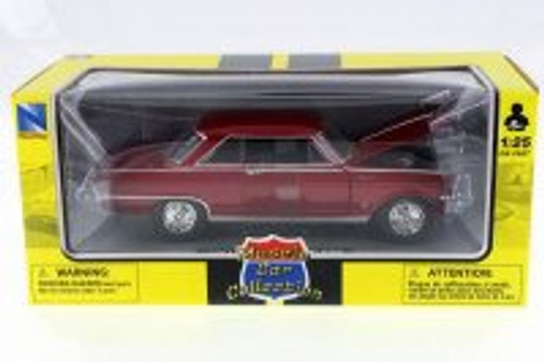 1964 Chevy Nova, Red - New Ray 71823A - 1/25 Scale Diecast Model Toy Car