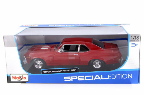 1970 Chevy Nova SS, Red - Maisto 31132RD - 1/18 Scale Diecast Model Toy Car