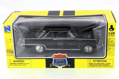 1964 Chevy Nova SS, Black - New Ray 71823B - 1/24 Scale Diecast Model Toy Car