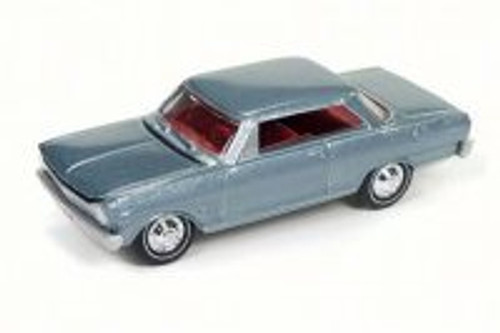 1965 Chevy Nova SS, Glacier Gray - Round 2 JLMC010B - 1/64 Scale Diecast Model Toy Car