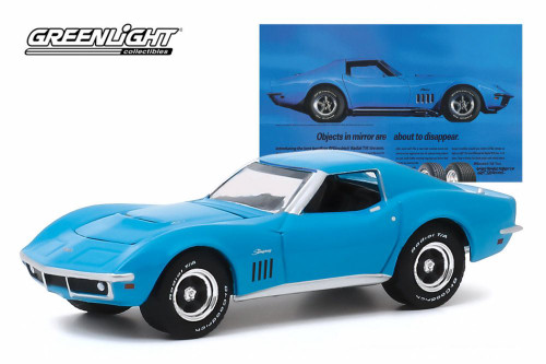 1969 Chevy Corvette, 'Objects In Mirror Are About To Disappear' BFGoodrich Vintage Ad Car - Greenlight 30137/48 - 1/64 scale Diecast Model Toy Car