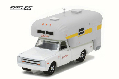 1968 Chevy C10 & Silver Streak Camper, White - Greenlight 29865 - 1/64 Scale Diecast Model Toy Car