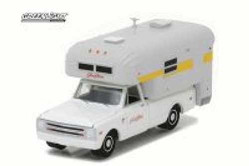 1968 Chevy C10 & Silver Streak Camper, White - Greenlight 29865 - 1/64 Scale Diecast Model Toy Car