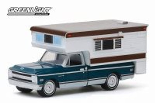 1969 Chevy C-10 Cheyenne with Large Camper, Green - Greenlight 30121/48 - 1/64 scale Diecast Model Toy Car