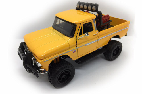 1966 Chevy C10 Fleetside Pick Up Truck, Yellow - Motormax 79131YL - 1/24 scale Diecast Model Toy Car