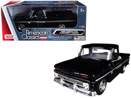 1966 Chevy C10 Fleetside Pickup, Black - Motormax 73355AC-BK - 1/24 scale Diecast Model Toy Car