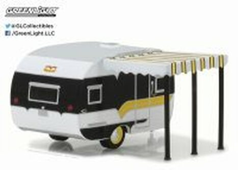 1959 Catolac Deville Travel Trailer, White & Black - Greenlight 34030B - 1/64 Scale Diecast Model Toy Car