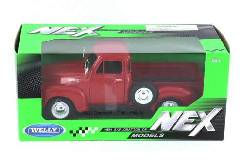 1953 Chevy 3100 Pick-Up Truck,  Red  - Welly 22087W-MJ-RD - 1/24 Scale Diecast Model Toy Car