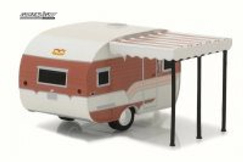 1959 Catolac Deville Travel Trailer, Brown/Tan - Greenlight 34020B - 1/64 Scale Diecast Model Toy Car