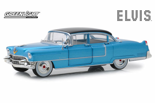 1955 Cadillac Fleetwood Series 60, Blue - Greenlight 84093 - 1/24 Scale Diecast Model Toy Car