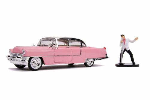 1955 Cadillac Fleetwood Series 60 Hardtop with Elvis Presley Figure, Pink - Jada 31007 - 1/24 scale Diecast Model Toy Car