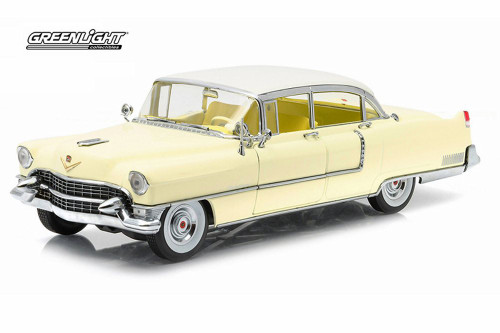 1955 Cadillac Fleetwood S60, Yellow with White Roof - Greenlight 12937 - 1:18 Scale Diecast Model Toy Car