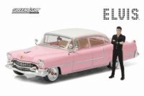 1955 Cadillac Fleetwood Series 60 Hardtop with Elvis Presley Figure, Pink - Greenlight 86436 - 1/43 scale Diecast Model Toy Car