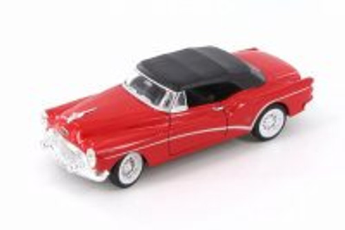 1953 Buick Skylark Closed Convertible, Red - Welly 24027HWR - 1/24 Scale Diecast Model Toy Car