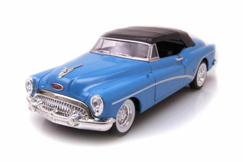 1953 Buick Skylark Closed Convertible, Blue - Welly 24027HWBU - 1/24 scale Diecast Model Toy Car