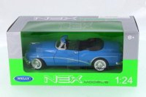 1953 Buick Skylark Convertible, Royal Blue - Welly 24027C-BL - 1/24 Scale Diecast Model Toy Car