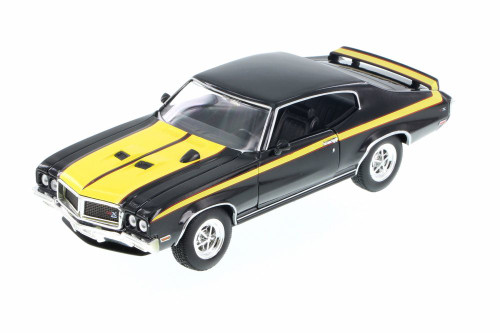 1970 Buick GSX, Black w/ Yellow - Welly 22433WBK - 1/24 Scale Diecast Model Toy Car